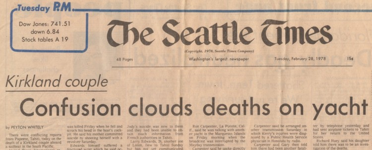 Feb. 28, 1978 - Seattle Times - Kirkland Couple: Confusion Clouds Deaths on Yacht - Peyton Whitely - A-1